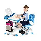 "SIMBR Kids Desk and Chair Set, Height Adjustable Ergonomic Student Study Desk and Chair Set with Large Storage Drawer, 28""x22"" Desktop, 55° Tilted Table"