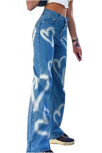 Loalirando Jeans Donna Vita Alta a Zampa Stampa Cuore Jeans Larghi da Ragazza Donna Elegante Vintage(Cuore-Blu,S)