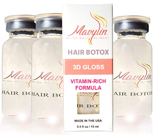 Hair Botox Treatment by MAVYLIN - 3 Vials - Concentrated Vitamin-Rich Formula - Reduce frizz and porosity - With vitamin B6 and Panthenol - Formaldehyde free