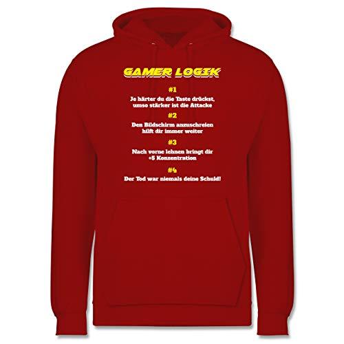 Shirtracer Nerds & Geeks - Gamer Logik - M - Rot - polovers Herren - JH001 - Herren Hoodie und Kapuzenpullover für Männer