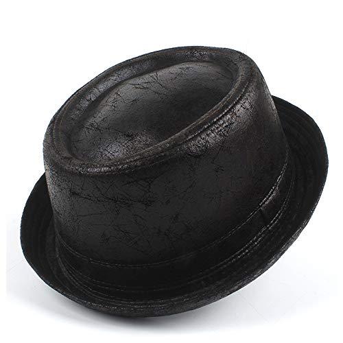 Retro, elegante, moda, clásico bombín 100% de piel de cerdo Pie Hat Hombres plana papá sombrero de Fedora de jazz del sombrero de copa Gambler Cap Panamá caballero del sombrero del hongo Tamaño M L Ma