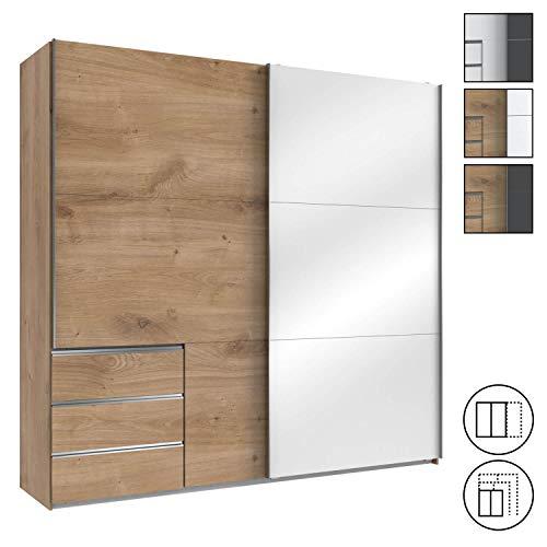 mokebo® Kleiderschrank 'Der Zugängliche', moderner Schwebetürenschrank in 2- oder 3-türig, Made in Germany, B 250cm | H 236cm & Plankeneiche mit Tür in Weißglas