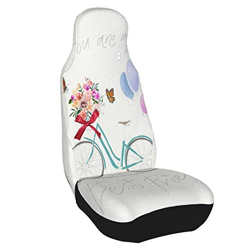 IBILIU Best Friend Slogan Car Seat Covers,Cute Bicycle Flowers Balloon Lettering Text Retro FrontSeatCovers AutoSeatCovers for Most Car SUV Sedan & Truck