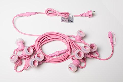 New-Lamps Nuovo Cordoniera 10 portalampade E27 L.10m prolungabile per uso esterno IP65 e interno Colorate (Rosa)