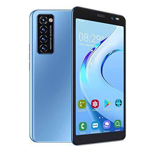 BTER Smartphone Desbloqueado para Android, Pantalla HD de 5,45'con Enfoque automático, teléfono móvil con Doble SIM, Smartphone con reconocimiento Facial con Tarjeta 128G, cámara de 2MP + 5MP(Azul)