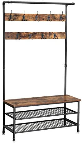 Best Prepac Hall Trees - Industrial Coat Rack Storage Bench.