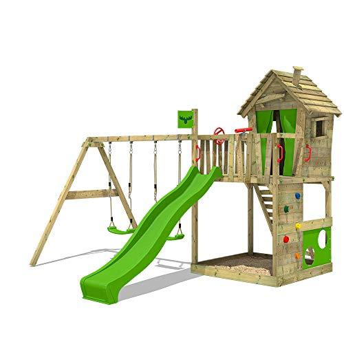 FATMOOSE Parque infantil de madera HappyHome Hot XXL con columpio SuperSwing y tobogán, Casa de juegos da exterior con arenero y escalera para niños