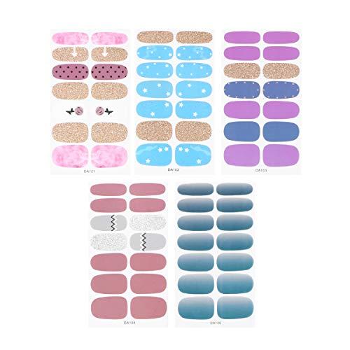 Lurrose Lot de 5 Feuilles de Stickers pour Ongles avec Paillettes pour Femme et Fille