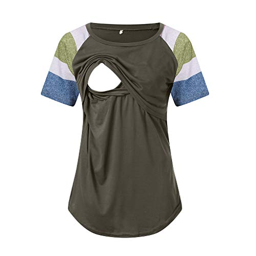 Women's Maternity Layered Nursing Tops Solid Short/Long Sleeve Henley V Neck T-Shirts Breastfeeding Blouse (XL, Green)