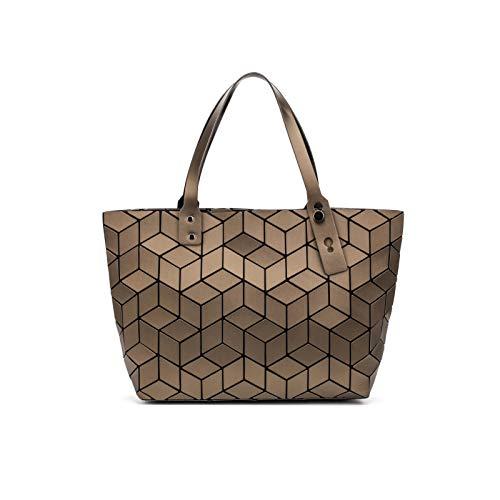 QXbecky Bolso de transporte bolso plegable de rombo bolso de rombo geométrico bolso de mano bolso de hombro mate bolso femenino 43x28x11.3cm