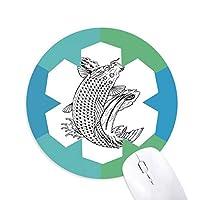 魚の遊泳する高速希望運 円形滑りゴムの雪マウスパッド
