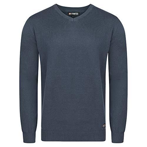 riverso Herren Pullover RIVEmil V-Neck Basic Strickpullover Organic Cotton Bio 100% Baumwolle Feinstrick Pulli Sweater Langarm Einfarbig Navy 4XL, Größe:4XL, Farbe:Dark Blue (19400)