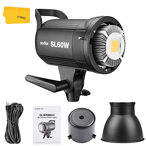 Godox SL-60W SL60W 60W 5600K Weiß LED Videoleuchte mit Deutsches Bedienungsanleitung für Videoaufzeichnung, Hochzeit,Außenaufnahmen (SL60W)