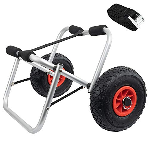 FUNPENY Boat Kayak Canoe Carrier Tote Trolley, Kayak Accessories, Kayak Cart Dolly for Sit on Top wtih Inflated Tires Wheels, Boat Launching Dolly