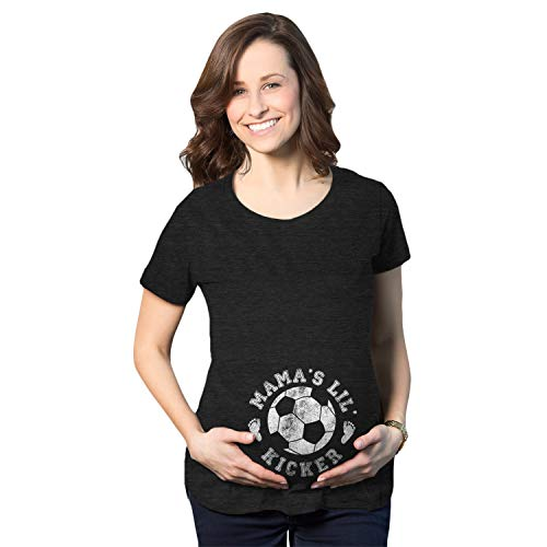 Crazy Dog Tshirts - Maternity Mama's Little Kicker Tshirt Cute Soccer Pregnancy Tee (Heather Black) - M - Femme