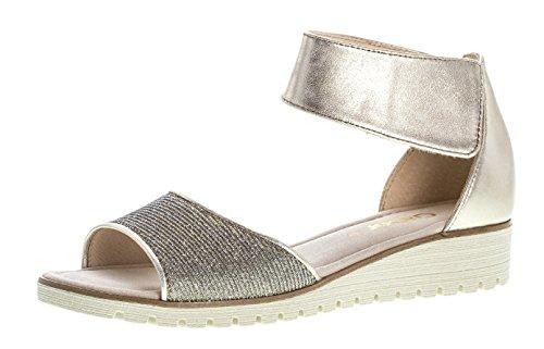 Gabor Damenschuhe 64.571.62 Damen Sandalen, Sandaletten, mit verbreiterter Auftrittsfläche, mit verbreiterter Auftrittsfläche Gold (Platino), EU 5.5
