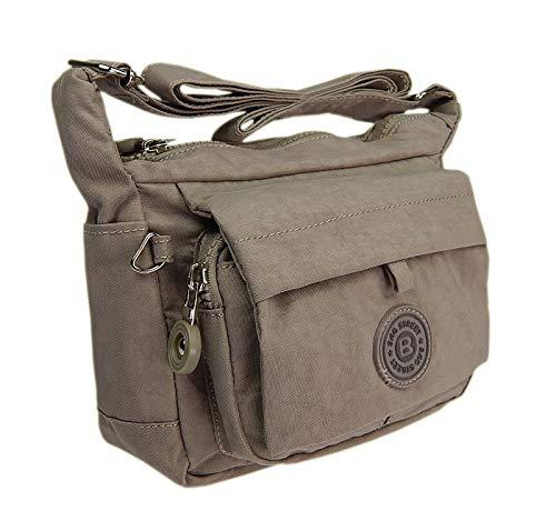 Moderne und zugleich sportliche Damen-Handtasche kleine Umhängetasche aus hochwertigem wasserabwesendem Crinkle Nylon (Stone)