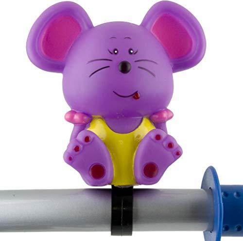 P4B Hupe für Kinderfahrräder | Tierfigurhupe Maus | Für Kinder | Mit Schelle | Zur Lenkermontage | Kinder Fahrrad Hupe | Lila Maus Hupe