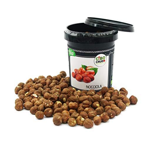 CiboCrudo Nocciole Sgusciate Biologiche Crude, Raw Organic - 250gr - Prodotto in Italia, Migliore Nocciola al Mondo, Calibro 15, Intere Senza Guscio,
