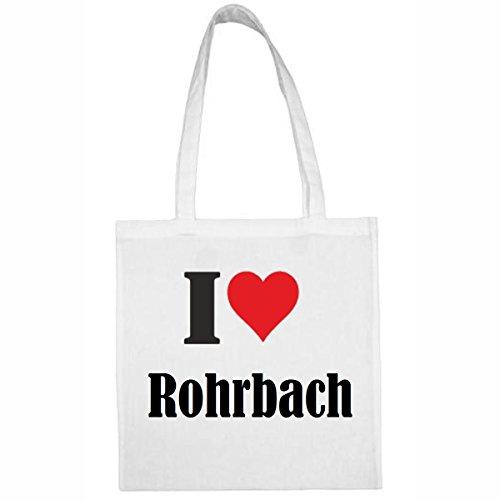 Reifen-Markt Tasche I Love Rohrbach Größe 38x42 Farbe Weiss Druck Schwarz