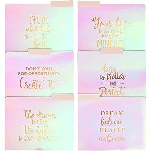 12 Pack Motivational Iridescent Decorative File Folders Emboss Rose Gold Foil, Letter Size