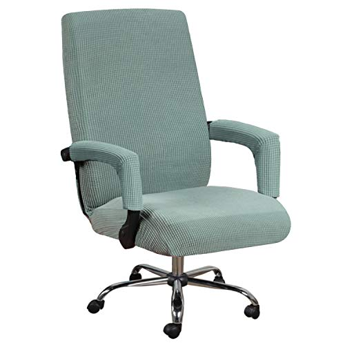 H.VERSAILTEX High Stretch Chair Cover Jacquard Slipcover/Form Fit Slip Resistant Furniture Protector Office Computer Chair Cover Rotating Chair Swivel Chair Cover with Armrest Covers, Large, Sage