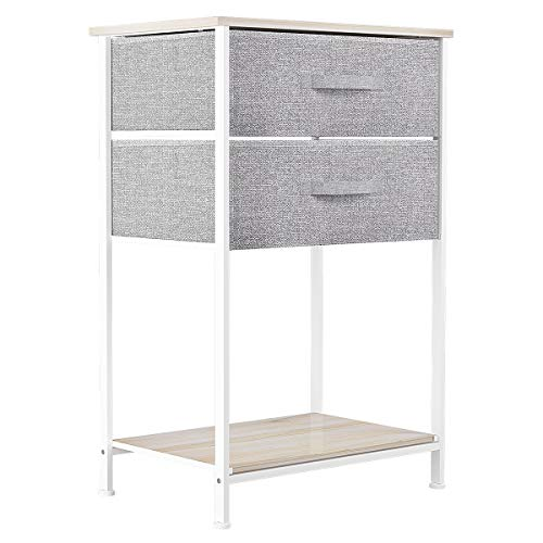 Pellebant 5 Drawers Vertical Storage Tower- Fabric Dresser, Sturdy Metal Frame, Fabric Storage Bins with Wooden Handle and Wooden Top, Organizer Unit for Bedroom/Closet/Hallway/Entryway,Tan