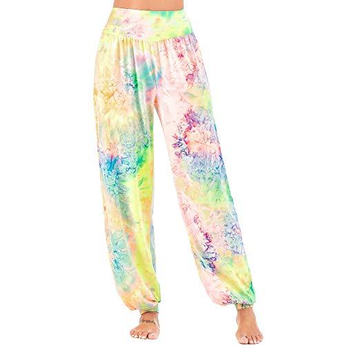 Nuofengkudu Mujer Tinte de Lazo Harem Hippie Yoga Pantalones Boho Easticos Cintura Alta Casual Colores Ligeros Comodos Pilates Pantalón Casual Pijama Homewear(82-3-Amarillo Rosa,3XL)