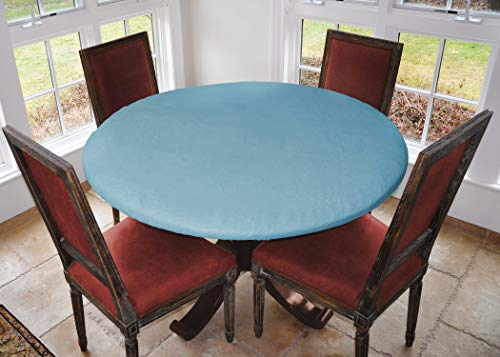 """Covers For The Home Deluxe Elastic Edged Flannel Backed Vinyl Fitted Table Cover - Global Coffee Pattern - Small Round - Fits Tables up to 40"""" - 44"""" Diameter"""