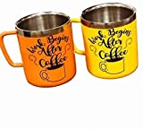 Handcuffs Crump Stainless Steel Double Walled Mugs: 100% BPA-Free, Metal Coffee and Tea Cup Mug Insulated Cups with Handles Keep Drinks Hot or Cold Longer - Set of 2 (Yellow and Orange)