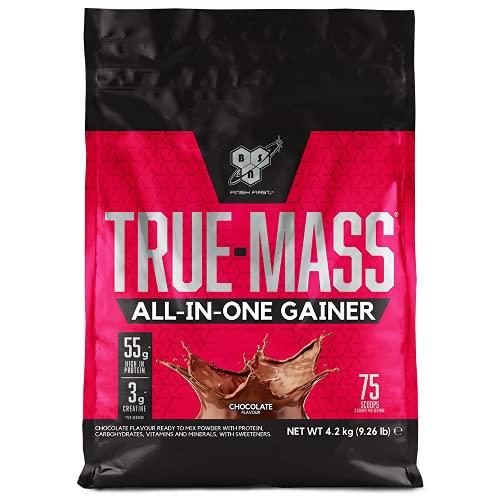 BSN True Mass All In One Gainer Protein Pulver mit Kreatin, Glutamin, Vitamin D und Zink hergestellt für Muskelaufbau, Chocolate, 25 Portionen, 4,2 kg