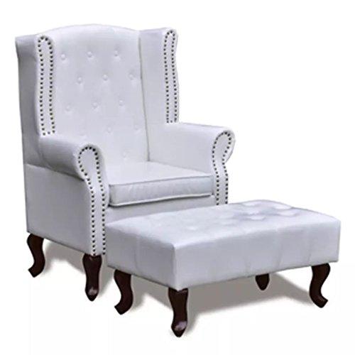 XINGLIEU Chesterfield Sessel Retro Ohrensessel mit Hocker Fernsehsessel Wohnzimmersessel Weiß 66 x 78 x 111 cm