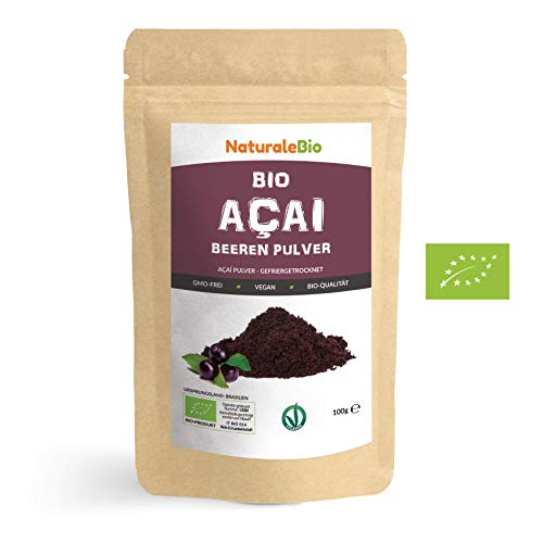 Açaí Beeren Pulver Bio [ Gefriergetrocknet ] 100g. Pure Organic Acai Berry Powder ( Freeze-Dried...