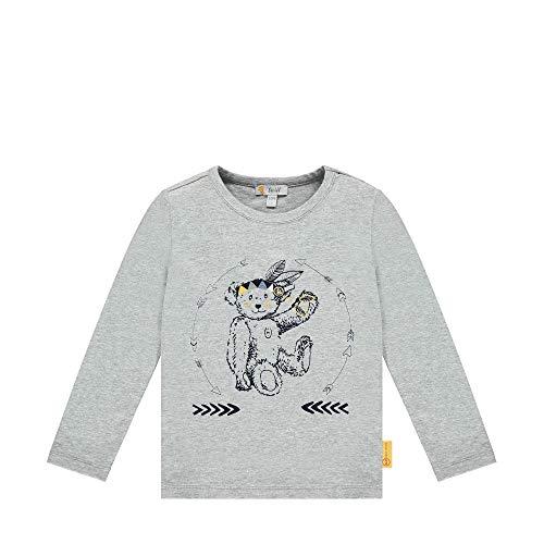 Steiff Jungen mit süßer Teddybärapplikation T-Shirt Langarm, Soft Grey Melange, 86