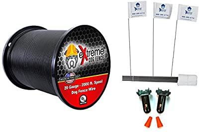 20 Gauge Wire 2000 Kit - Pet Containment Wire Setup Kit Compatible with Every In-Ground Fence System for Dogs - Includes 8 Splices and 200 Training Flags Bundle