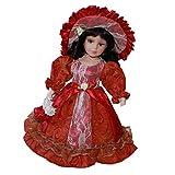 P Prettyia Modelo Muñeca Muchacha de Porcelana de 30cm Niños - Rojo