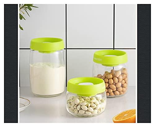 Contenedor Almacenamiento Alimentos, 3pcs Conjunto Aspiración Plástico Jarrón Sellado Caja Almacenamiento Alimentos (Color : Green 1 Set(3pcs))