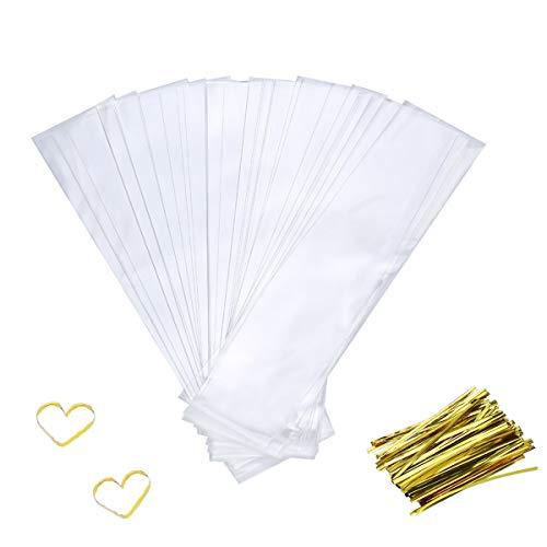 Bolsas de celofán, 200 bolsas de regalo para fiestas con lazos, bolsa plana para dulces y galletas (6 x 25 cm)