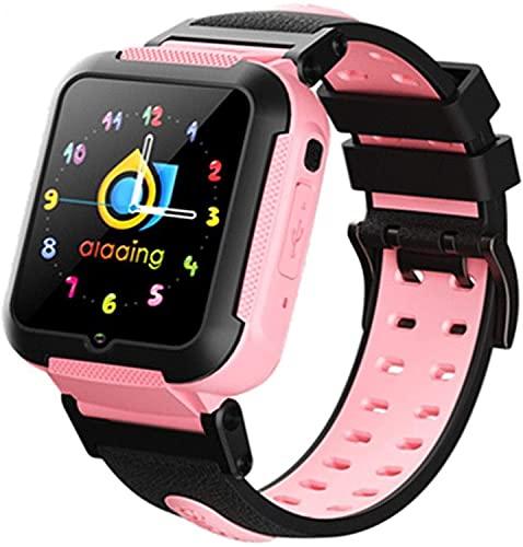 GPS Reloj Inteligente Niña Impermeable Smartwatch Localizador GPS Niños Pulsera Inteligente Reloj Inteligente Regalo, con Llamada Telefónica SOS Despertador GPS Tracker Podómetro,Rosado