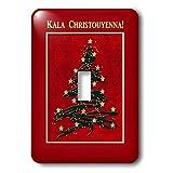 3dRose lsp_37022_1'Kala Christouyenna, Merry Greek, Christmas Tree On Red Single Toggle Switch