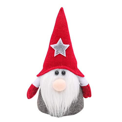 Pstarts Christmas Gnome Gifts Holiday Decoration, Kids Birthday Present Handmade Tomte Plush Doll, Home Ornaments Tabletop Santa Figurines 8 Inches