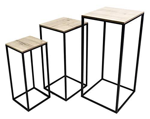 Hoher Beistelltisch Holz Metall Telefontisch Pflanzentisch Blumentisch Tisch (3er Set (Alle 3 Tische))
