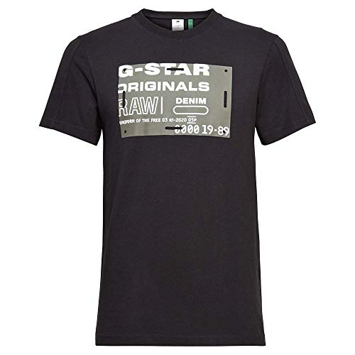 G-STAR RAW Flock Badge Graphic Camiseta, Dk Black C336-6484, XXL para Hombre