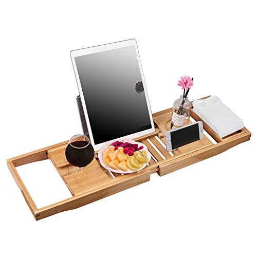 Tanice Badewannenbrett, Badewannenablage Caddy Bambus Badewanne Ausziehbarer Bath Caddy Organizer Bad Tisch für Buch Telefon Tablet Kindle Weinglashalter