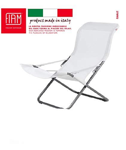 fiam Fiesta – Marco de Antracita de Color Blanco y Gris, sillón anatómico Regulable en el Exterior