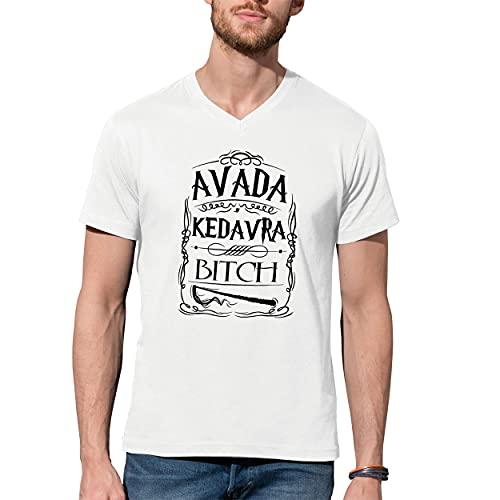 Avada Kedavra Bitch Harry Potter V-Neck Camiseta De Hombre Blanca Size XXL