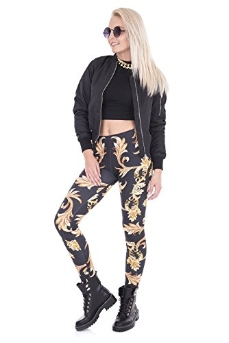 kukubird Printed Patterns Women\'s Yoga Leggings Gym Fitness Running Pilates Tights Skinny Pants 8 to 12 Stretchable - Gold Ornament