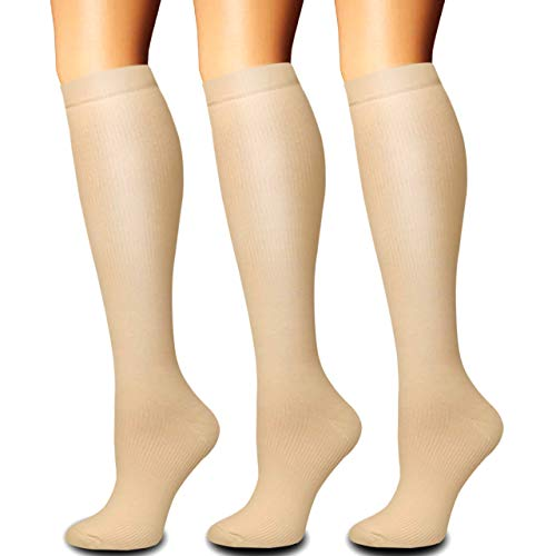 Compression Socks for Women and Men(1/3 Pairs)-Best for Running,Nursing,Circulation,Recovery & Travel (Nude - 3 Pairs, Small/Medium)