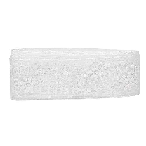HEEPDD 5 Yards Chiffon Lint, 25 mm Brede Sneeuwvlok Chiffon Trim Lint Kleurrijke Kerst Lint Kleding Naaien Decoratie Haaraccessoires Gift Verpakkingen
