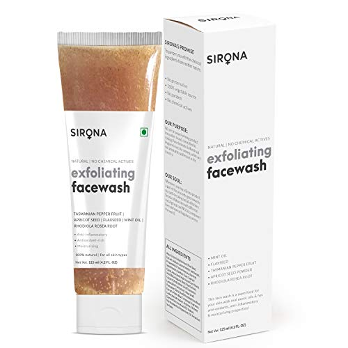 Sirona Exfoliating Natural Face Wash for Men & Women - 125 ml | Anti Acne | Suitable For All Skin Type| Reduces Blemishes| Anti-Ageing | Facial Cleanser With Apricot, Flax-Seed Extracts